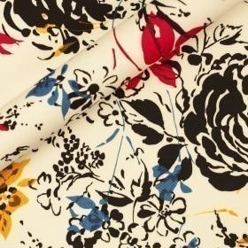 Piquèt di cotone stretch con stampa floreale