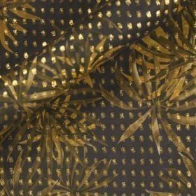Stampa su georgette pois lamè oro