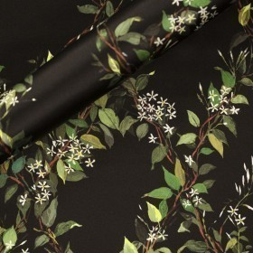 Carnet Couture floral print on silk satin fabric