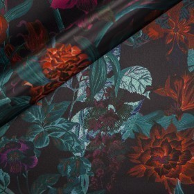 Carnet Style floral print on polyester duchesse fabric