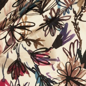 Carnet Style floral watercolor print on sik satin fabric