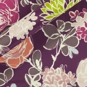 Carnet Style floral print on silk matte satin fabric