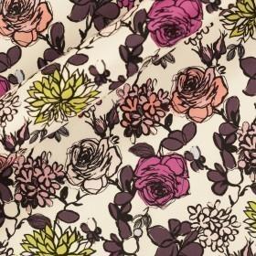 Carnet Style floral print on matte silk satin fabric