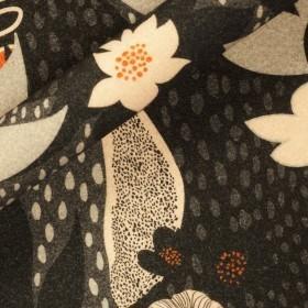 Carnet Style geometric flower print on wool fabric