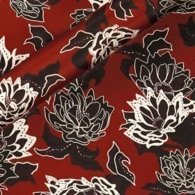 Carnet Style floral print on silk satin fabric