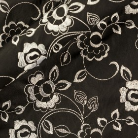 Carnet Style floral embroidered eco leather fabric