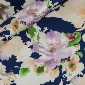 Floral printed satin, 100% silk
