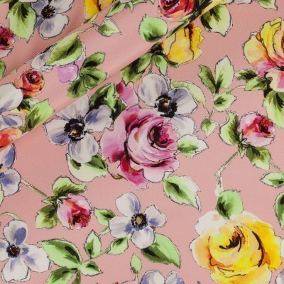 Floral printed opaque satin, 100% silk