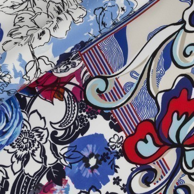 Floral printed opaque satin, panel h 140 cm, 100% silk