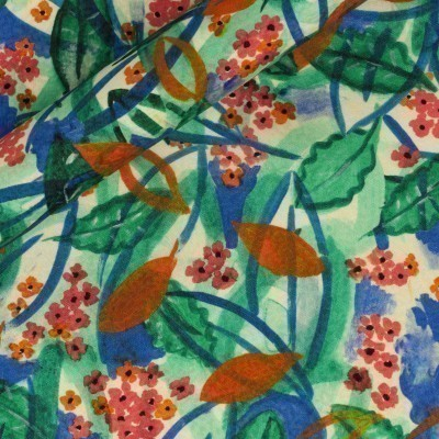 Floral print on cloquet froissé