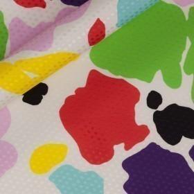Macro floral print on polka dots jacquard