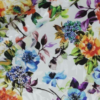 Floral print on jacquard