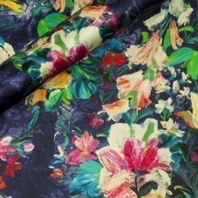 Floral print on crepe satin silk
