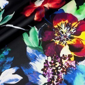Floral print on satin silk