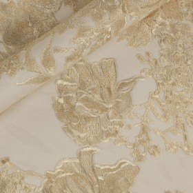 Floral embroidery on Tulle h 125cm