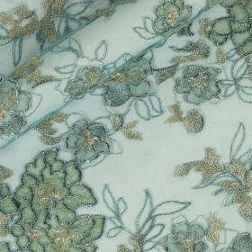 Floral embroidery with sequins on Tulle h 90 cm