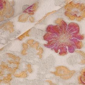 Jacquard floreale fil coupè lurex, pannello h 160 cm