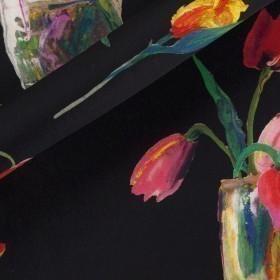 Floral print on mikado silk fabric