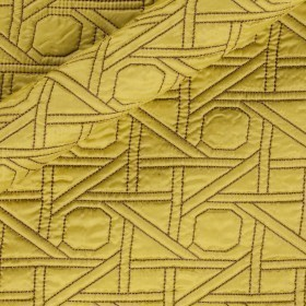 Quilted fabric with embroidery