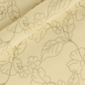 Carnet Couture crèpe wool fabric with floral embroidery