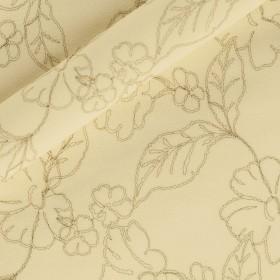 Crepella lana con ricamo fiore oro