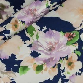 Floral printed satin, 100% silk