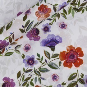 Floral placed print on Cotton stretch