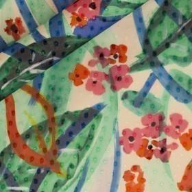Floral print on polka dots fil coupè