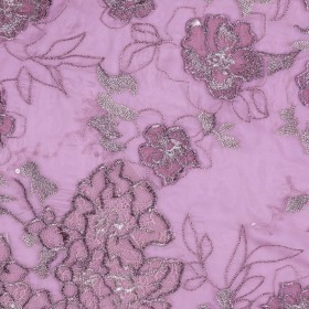 Embroidered silk chiffon with sequins
