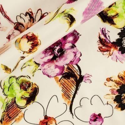 Stampa floreale con bordo ricamato macramè h 10 cm