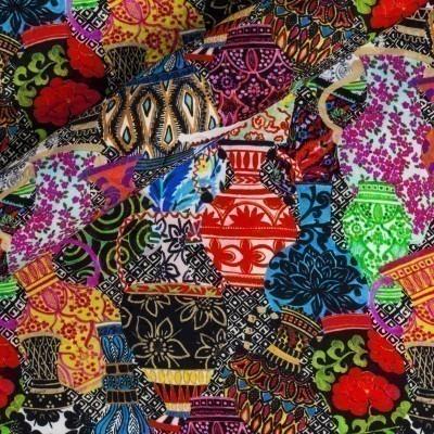 Floral geometric printed fabric