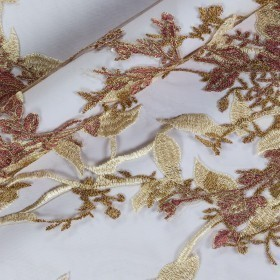 Floral lurex embroidey on tulle fabric