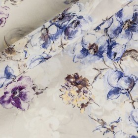 Floral printed silk fabric