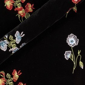 Velvet with floral embroidery
