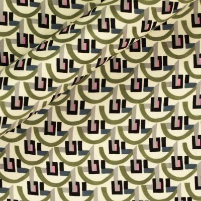Geometric print on silk