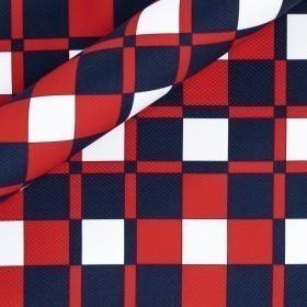 Geometric print on stretch cotton