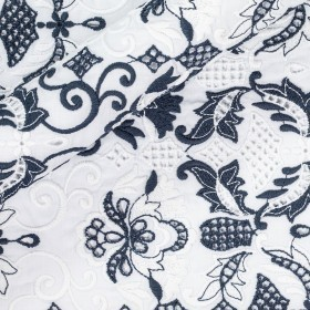 Floral embroidery on cotton